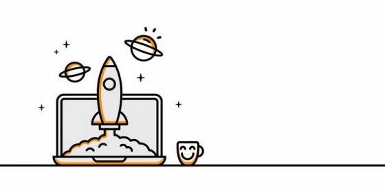 MBE风格线条笔记本电脑上正在发射的卡通小火箭png图片免抠eps矢量素材