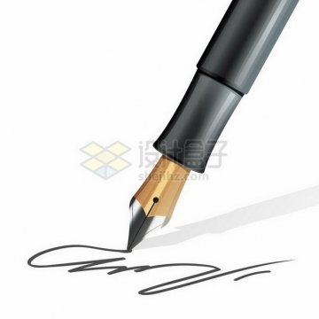 逼真的钢笔在纸上写写画画涂鸦签名png图片免抠矢量素材