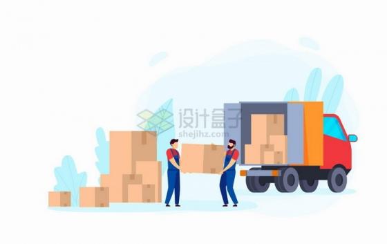 往卡车上搬运货物的工人扁平插画png图片免抠矢量素材