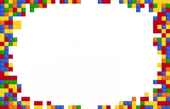 儿童积木玩具拼接的彩色边框免抠矢量图素材