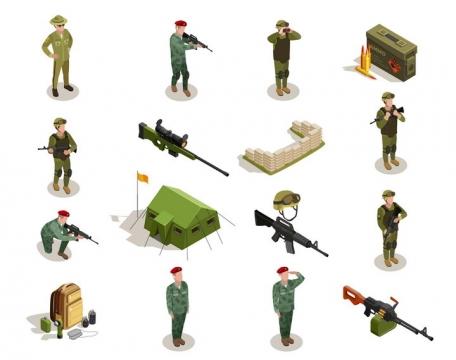 2.5D风格站立的士兵军人狙击步枪帐篷掩体等军事装备图片免抠矢量素材