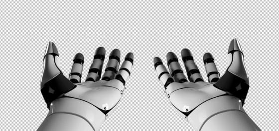 第一人称视角的机器人的双手机械手臂png免抠图片素材