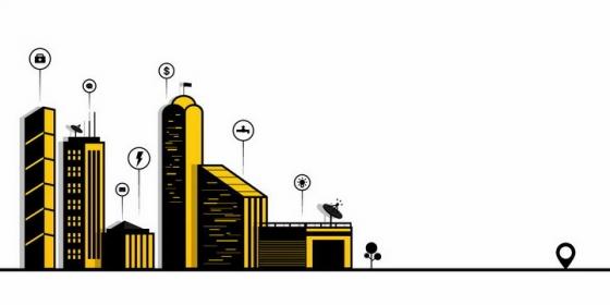 MBE风格黑色黄色城市建筑天际线png图片免抠eps矢量素材