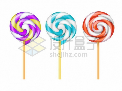 3款彩色旋转棒棒糖png图片免抠矢量素材