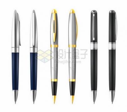3种不同风格的金属圆珠笔png图片免抠矢量素材
