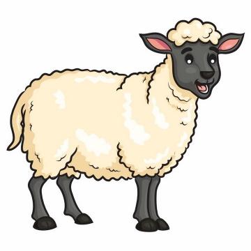 一只黑脸的卡通绵羊png图片免抠矢量素材