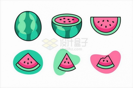 卡通西瓜美味水果png图片免抠矢量素材