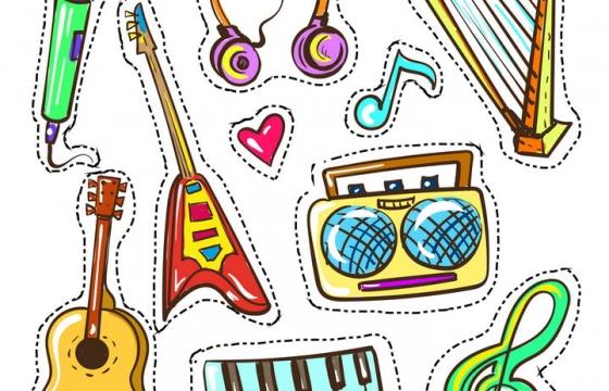 手绘彩色卡通画风格话筒吉他竖琴音乐乐器图片免抠素材