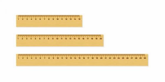 三款长短不一的木尺直尺测量工具png图片免抠矢量素材