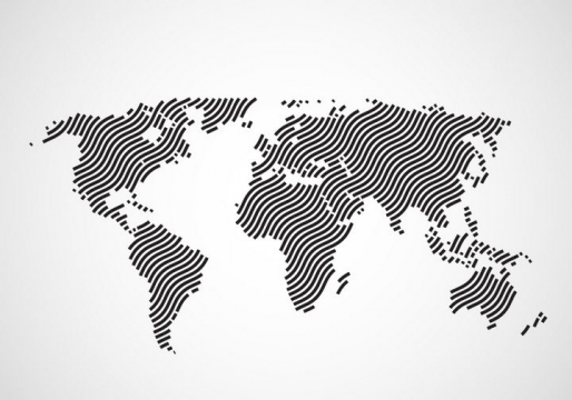弯曲的指纹线条组成的世界地图图案图片免抠矢量素材