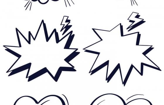 6款爆炸风格的线性对话框文本框图片免抠素材