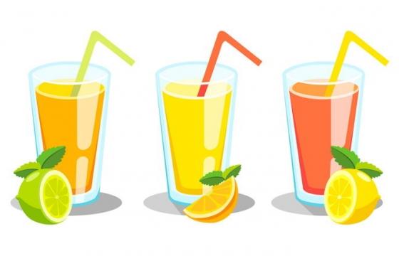 扁平化风格柠檬汁果汁饮料图片免抠素材