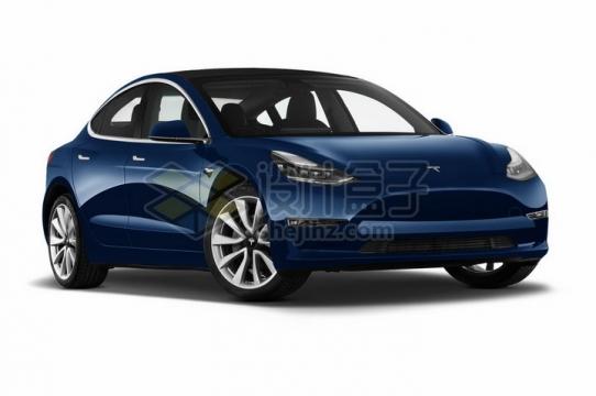 蓝色特斯拉Model 3电动汽车png图片素材