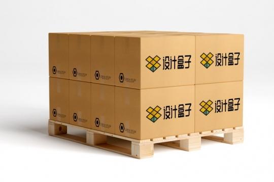 木制托盘上整齐放置的纸箱子快递纸盒子psd样机图片模板素材734382