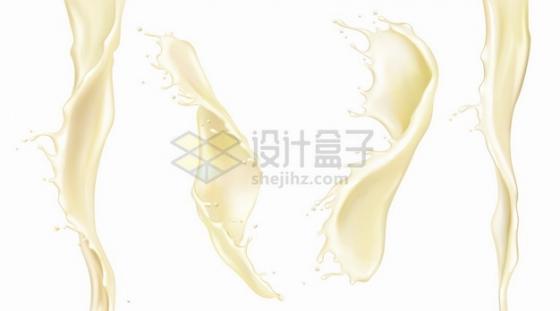 4款倾倒的牛奶乳白色液体流动效果png图片素材