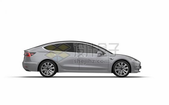 银色特斯拉Model 3电动汽车侧面图png图片素材