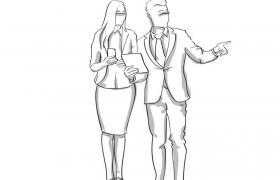 涂鸦素描风格讨论工作的商务人士男女免扣图片素材