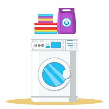 扁平化风格洗衣机和放在洗衣机上折叠好的衣物png图片免抠矢量素材