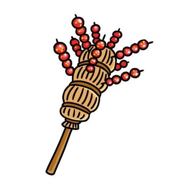 手绘风格卡通糖葫芦传统美食小吃图片免抠素材