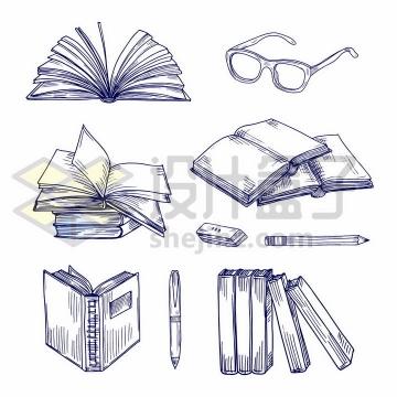 圆珠笔手绘风格翻开的书本眼镜橡皮铅笔等学习用品png图片免抠矢量素材