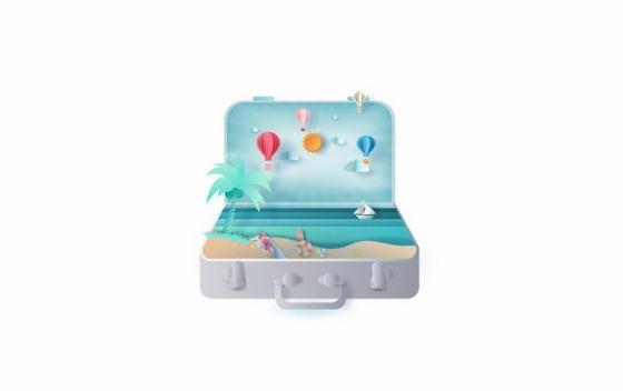 打开的行李箱中的海岛和大海旅游png图片免抠矢量素材
