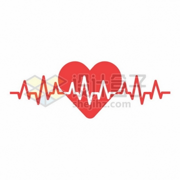 红色心电图和红心图案987824png矢量图片素材