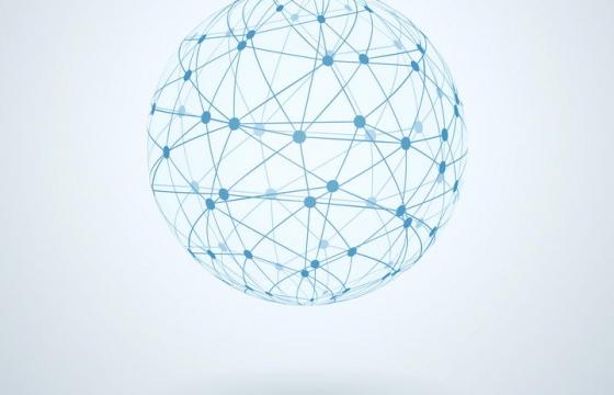 蓝色圆点和线条组成的圆球抽象地球图案图片免抠矢量素材