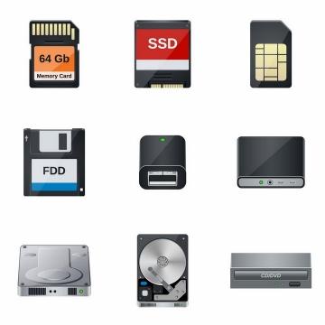 9款SD卡SSD固态硬盘软盘机械硬盘移动硬盘DVD等存储设备png图片免抠矢量素材