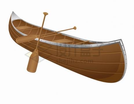 独木舟小木船和船桨png图片素材
