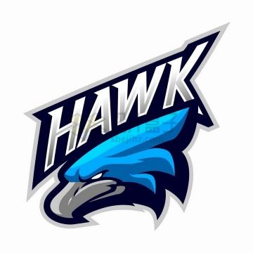 蓝色目光锐利的老鹰公司logo设计png图片免抠矢量素材