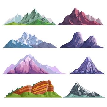 8款扁平插画风格大山山脉山峰插图图片免抠素材