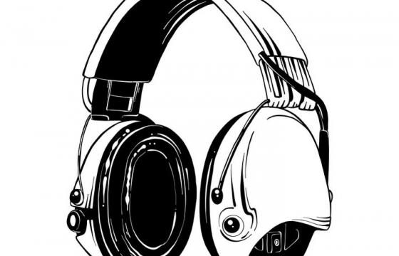 黑色手绘风格头戴式耳机图片免抠素材