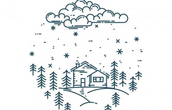 MBE风格线条下雪天里的森林和房屋免抠矢量图素材
