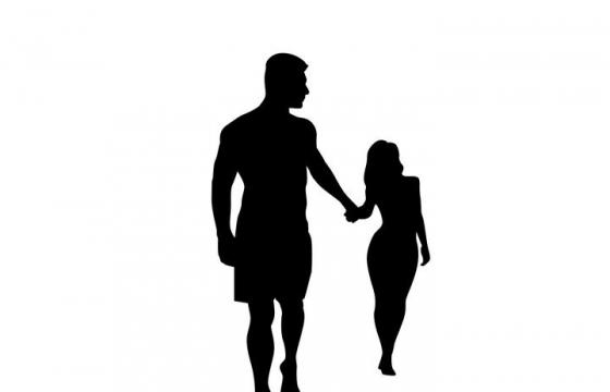 男人拉着女人的手情侣温馨剪影免扣图片素材