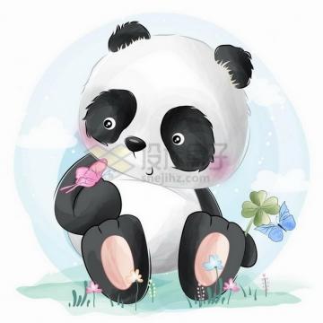 彩绘风格坐在地上的可爱卡通熊猫和蝴蝶png图片免抠矢量素材