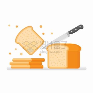餐刀正在切面包扁平化风格美味美食png图片免抠矢量素材