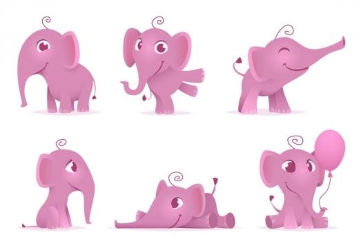 6个可爱的卡通粉色小象图片免抠矢量素材