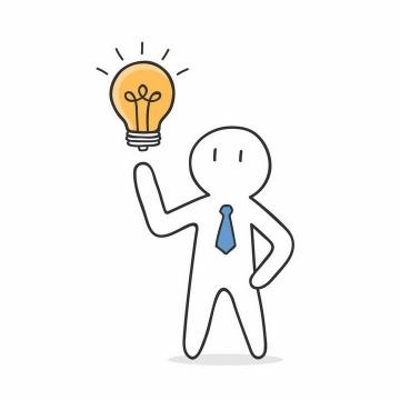 手绘线条小白人和灯泡有一个创意png图片免抠矢量素材