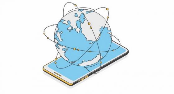2.5D风格智能手机上的全球网络通信技术png图片免抠矢量素材