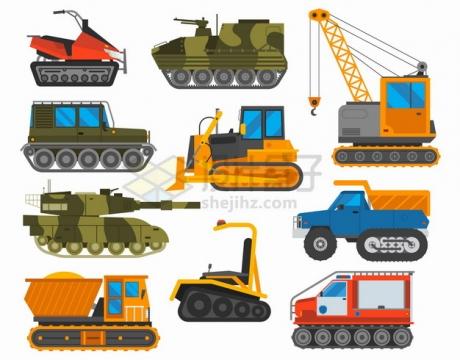 卡通雪地摩托装甲车推土机起重机坦克卡车等履带特种车辆png图片素材