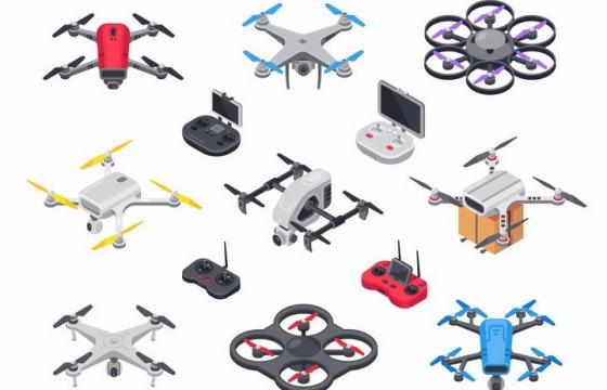 各种2.5D风格四轴无人机飞行器和遥控器航拍小飞机png图片免抠矢量素材