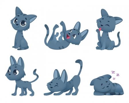 6个可爱的卡通灰色小猫图片免抠矢量素材