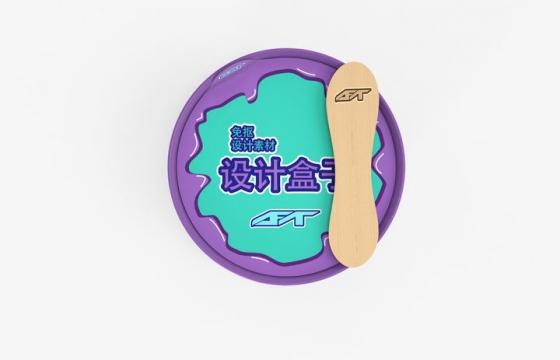俯视视角的桶装冰淇淋外包装品牌logo标志图案样机图片设计模板素材