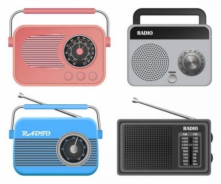 4款粉色银色蓝色和黑色复古收音机png图片免抠矢量素材