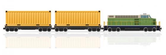 运送集装箱的货运火车免抠矢量图片素材