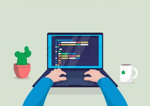 扁平插画风格正在使用电脑的双手和周围的仙人掌咖啡杯png图片免抠矢量素材