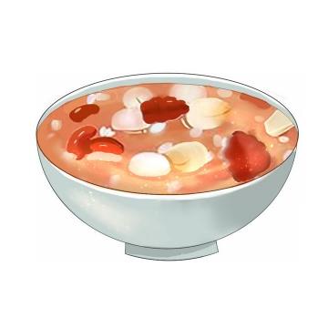 彩绘风格腊八粥八宝粥养生粥腊八节传统美食图片免抠png素材