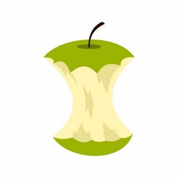 咬完的青苹果只剩下苹果核png图片免抠EPS矢量素材