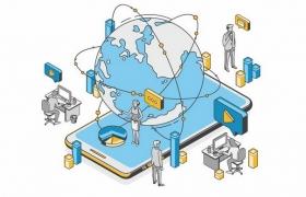 2.5D风格智能手机上的全球网络和各种通信应用技术png图片免抠矢量素材