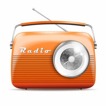 一款橙色的复古收音机png图片免抠矢量素材